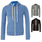 CANVAS UNISEX TRI-BLEND FULL ZIP HOODIE HOODED TOP SWEATSHIRT CV3909