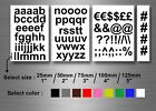 Self adhesive stickers numbered vinyl letters alphabet ABC lower 1 2 3 4 5'' car