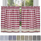 "Window Curtain Tier Pair Pack Set Checked Plaid Gingham Kitchen Panel 58"" x 24"""