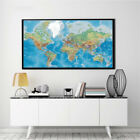 Banner World Map Ocean Geography Art Silk Canvas Poster Painting No Frame BM12