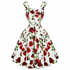 Hearts & Roses London Cream and Red Floral Vintage Retro 1950s Flared Tea Dress