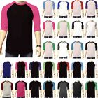 3/4 Sleeve Plain Baseball Raglan T-Shirt Tee Mens Sports Team Jersey 30+ Colors image
