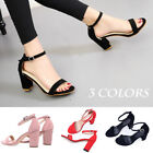 Sexy Women Suede Coarse Heel High Heels Sandals Open Toe Ankle Strap Shoes