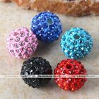 5x 10mm Pave Crystal Alloy Round Ball Disco Spacer Loose Beads Charm Making DIY
