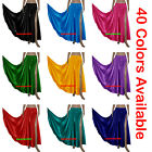 Satin 2 Side Slit Skirt Full Circle Long Gypsy Club Belly Dance Costumes S 3XL