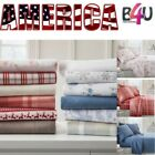 Full California King Queen Twin Size Cotton Soft 4 PIECE Flannel Bed Sheets SET