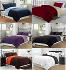 REVERSIBLE COMFORTER MICROFIBER 1 PIECE 12 DIFFERENT COLORS ALL SIZES BRAND NEW image