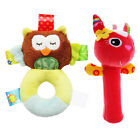 2pcs Animals Ring Baby Rattle Toddlers Soft Stuffed Toy Plush Squeeze Hand Bells