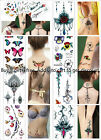 Women Butterfly Temporary Body Chest Waist Art Tattoo Sticker Choker Pendant $1.99 USD on eBay