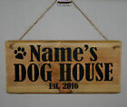 Name Sign Plaque Personalised DOG HOUSE Est. 2018 Paw Puppy Kennel Bedroom Den