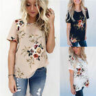 2019Womens Casual Tops Blouse Short Sleeve Crew Neck Floral T-Shirt Ladies