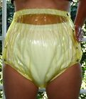 PVC Adult Baby Incontinence Snaper Diaper Rubber Pants Yellow Transparent