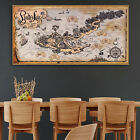Pirate Lair Island Treasure World Map Canvas Vintage Poster Paint Unframed 91
