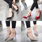 US Women Pointed Toe Suede Buckle Strap High Heels OL Pumps wedding Shoes