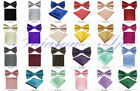 Внешний вид - Boy Butterfly Solid Pre-tied Bow tie Kid Bowtie & Hanky Set Wedding Party Prom
