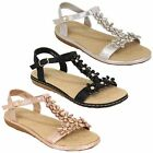 Ladies Flat Sandals Womens Rhinestone Flowers Open Toe Shimmer Shoes Summer New