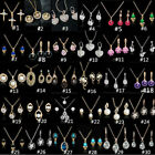 Woman Gold Plated Crystal Pendant Chain Necklace Earrings Jewelry Sets 50 Styles
