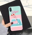 Delight Flamingo Swimming Pool Hard Phone Case Cover For iPhone X 6 6S 7 8 Plus