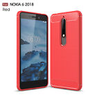 For Nokia 6.1 (Nokia 6 2018) Shockproof Armor Carbon Fiber Hybrid Brush Case
