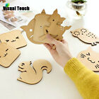1pc Wooden Cats Carved Tea Coffee Cup Mat Mug Bowl Insulation Pad Coaster Holder