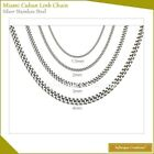 "Stainless Steel Silver Miami Cuban Link Chain Bracelet And Necklace 7""-38"" image"