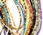 assorted Natural Gemstone 4mm Coin Beads 16in. Strand , Jasper , Quartz,
