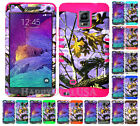 For Samsung Galaxy Note 4 KoolKase Hybrid Silicone Cover Case CAMO MOSSY Purple
