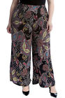 New Womens Plus Size Palazzo Trousers Ladies Paisley Print Wide Bottoms Pants