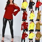 Womens Ladies Wide Strappy Peplum Frill Off Cold Shoulder Bell Long Sleeve Top