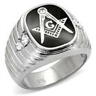 Men's Stainless Steel Die Cast Masonic Mason, Clear Crystal Prong Set Ring