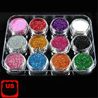 Kyпить 12 Pcs Mix Color Glitter Dust Powder Set For Nail Art Acrylic Tips Decoration US на еВаy.соm
