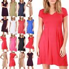 Ladies Womens V Neck Flared Cap Sleeve Top Franki Party Swing Skater Mini Dress