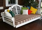 """Wood Porch Swing Bed 75"""" Twin with Cushion Outdoor Kit Patio Garden Furniture"""