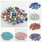 50pcs X 8mm Multi Coloured Silver Swirl Acrylic Round Beads For Jewellery Making