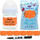 Reusable Baby Bottle Labels for Daycare, 6 MULTI-COLOR Silicone Bands & 1 Marker