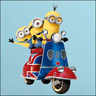 Despicable Me 3 minions on UK scooter vinyl wall art sticker 7 sizes A4-XL 1.2m