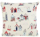 """Beach Hut Red and blue  Design FILLED CUSHION 14""""- 20""""  100% Cotton"""