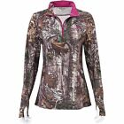 Ladies 1/4 Zip Realtree Xtra Camo Long Sleeve Performance Shirt w pink accents