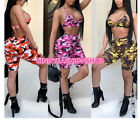 USA Women Two Piece Set Outfit Casual Camo Bra Crop Top+Half