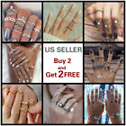 28 Styles Gold Silver Ring Set Above Knuckle stacking Band Midi Rings Boho image
