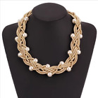Stylish pearl necklace with simple collar