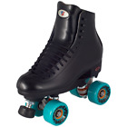 Black Leather Riedell Outdoor Quad Roller Skates w/ 62mm Energy Wheels D Width