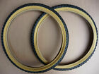 """TYRES Pair 20x1.75"""" COMP 3 Tread Style Retro Old School Comp III Amber Wall BMX <br/> 47-406 Burner 80s BMX Tires BLUE RED YELLOW BLACK"""