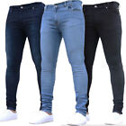 Men Stretch Washed Jeans Skinny Denim Rinsewash Straight Leg Pants Slim Trousers