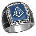Men's Stainless Steel Top Grade Crystals Stylish blue / BK Montana masonic ring