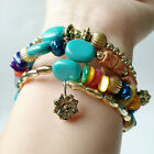 Women Lady Fashion Multi-layer Agate Stone Beads Bracelet Wristband Jewelry Gift