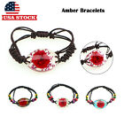 Real Flower Amber Bracelet Rose Wooden Beads Fashion women Jewelry Gifts