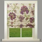 Evie Purple Floral Lined Roman Blind - choice of standard or deluxe headrail