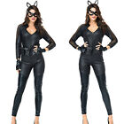 Women Cat Leather Black Catwoman Halloween Christmas Carnival Adult Costume UP