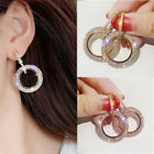 Uk Fashion Round Hoop Earrings Women Gold Silver Crystal Rhinestone Earrings